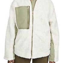 Free People Women Jacket Beige Size Xs Colorblock Faux Sherling Zip Up 168 386 Photo