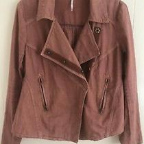 Free People Women's Blush Linen  Asymmetrical Front Moto Jacket Small S Euc Photo