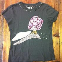 Free People Women's Brown T Shirt Tree Applque- Size Small Petite- 40 Photo