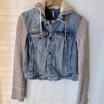 Free People Women's Denim Knit Distressed Hooded Jacket Size Small Photo