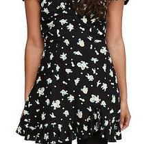 Free People Women's Dress Black Size Small S a-Line Floral Ruffle Mini 108 132 Photo