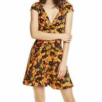 Free People Women's Dress Yellow Size Xs a-Line Ruched v Neck Floral 98 527 Photo