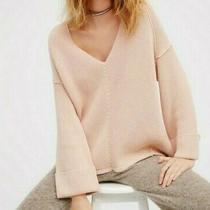 Free People Women's Oversized Knit v-Neck Sweater Size Xs Blush Pink Photo