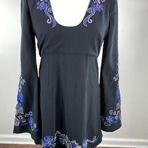 Free People Women's Size 4 Tunic Top Black Embroidered Bell Sleeve Empire Waist Photo