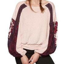 Free People Women's Top Blush Pink Size Small S Lace Contrast Sleeve 88 211 Photo