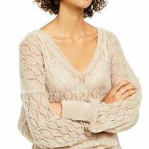Free People Womens Beige Eyelet Long Sleeve v Neck Top Size Xs Photo