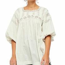 Free People Womens Beige Short Sleeve Jewel Neck Top Size S Photo