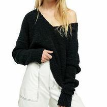 Free People Womens Black Long Sleeve v Neck Sweater Size Xs Photo