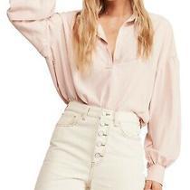 Free People Womens Blouse Blush Pink Size Medium M Collared Split Neck 98- 011 Photo