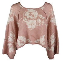 Free People Womens Blush Combo Purple Rain Kimono Crop Sweater L 128 New Photo