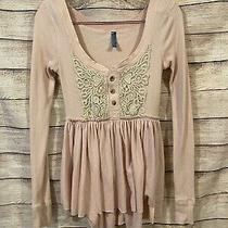 Free People Womens Blush Pink Babydoll Long Sleeve Lace Button Top Size Small Photo