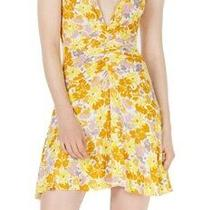 Free People Womens Dresses Yellow Size Large L a-Line Floral Knit 98 044 Photo