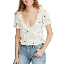 Free People Womens Full Bloom Ivory Embroidered Ruffled Blouse Top L Bhfo 5514 Photo