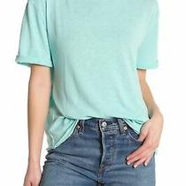 Free People Womens Knit Top Aqua Bloom Blue Size Small S Rolled-Cuff 38 387 Photo