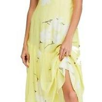 Free People Womens Maxi Dress Lemon Ice Yellow Size 4 Plunge Printed 128 404 Photo