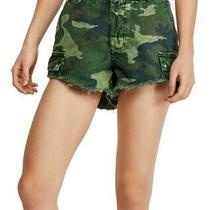 Free People Womens Shorts Green Size 12 Denim Commander Camo Cut Off 98 041 Photo