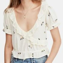 Free People Womens Top White Ivory Size Large L Knit Sequin Embroidered 78 072 Photo