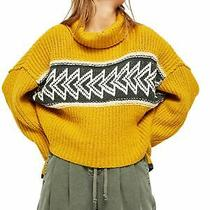 Free People Womens Yellow Printed Long Sleeve Cowl Neck Sweater Size Xs Photo