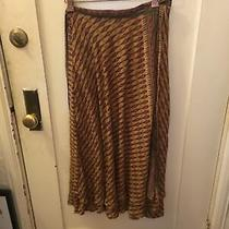Free People Wrap Tie Skirt Midi Boho Flowing Layered Gold Maroon Green Blush 0 Photo