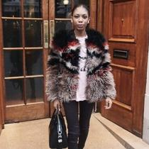 Free People Xs Black Brown and Red Faux Fur Jacket  Photo