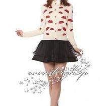 Free Ship New Women 368 Alice  Olivia Pout Red Lip Print Girly Cotton Cardigan Photo