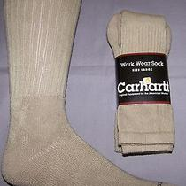 Free Shipping 2 Pair Mens Large Carhartt Workwear Tan Crew Midweight Socks Photo