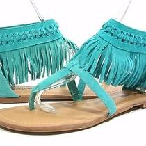 Free Shipping Minnetonka 700032 Aqua Suede Fringed Zip Back Sandals 10 Us Photo