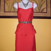 Free Shipping Nwt Bebe Lynette Peplum Red Dress Size L Photo