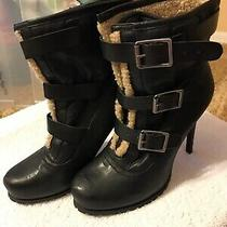 Free Shipping Simply Vera Vera Wang 3 Buckle Black Fleece Lined Stilleto Boots Photo