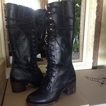 Freebird by Steven Freepeople Grany Tall Lace Up Black Leather Boots 6m 350 Photo