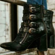Freebird by Steven New Julia Distressed Black Leather Booties Boots Size 9 Photo