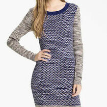 French Connection 168 Space Baby Chevron Knit Sweater Dress Cobalt Blue 8 6 Photo