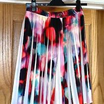 French Connection Abstract Print Pleated Knee Length Floaty Skirt Size Uk 10 Photo