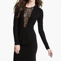 French Connection 'Alicia' Lace Inset Jersey Black Sheath Dress Us 6 178 Photo