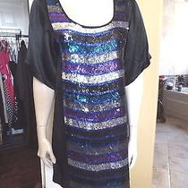 French Connection Black Sequins Front Cocktail Shift Dress 8 Photo