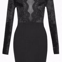 French Connection Black Velvet and Lace London Fashion Week Dress Uk Size 6 Photo