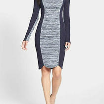 French Connection Bodycon Dress 8 Knee Length Scallop Hem Blue Colorblock New A4 Photo