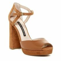 French Connection Dita Platform Sandal Brown Ankle Strap Leather Suede Heel 9 40 Photo