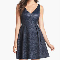 French Connection 'Katari' Blue Jacquard Fit Flare Cocktail Dress 4 New 228 Photo