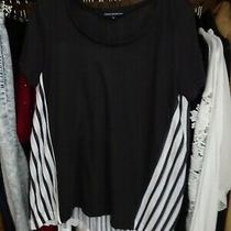 French Connection Ladies Black White Stripe Panel Concertina T-Shirt Top Size S Photo