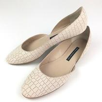 French Connection Leather Asia Flats 39.5 9.5 Blush Croc Print Photo