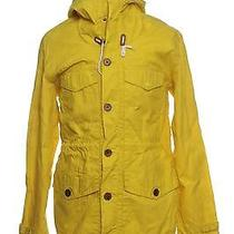 French Connection Mens L Zip Front Softshell Yellow Solid Hood Jacket Coat Sale Photo