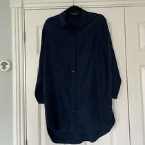 French Connection Navy Blue Shirt Dress Size 10 Photo