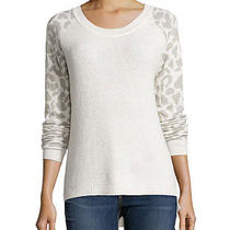 French Connection New Leopard Print Long-Sleeves Waffle Cream Knit Top L 138 Photo