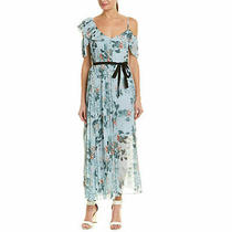 French Connection New With Tags Kioa Floral Pleated Maxi Dress Blue Photo