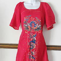 French Connection Red Floral Peasant Boho Vintage Dress Cocktail 8 Medium M Photo