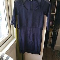 French Connection Size 8 Blue Chiffon Knee Length Dress 3/4 Sleeve F15 Photo