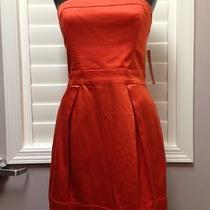 French Connection Size 8 Red Orange Cotton Blend Strapless Dress Nwt Macy's Photo