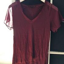French Connection Size Medium Burgundy Red Short Sleeve T-Shirt (T6) Photo