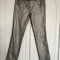 French Connection Skinny Coated Silver Stretch Jeans Size 10 Photo